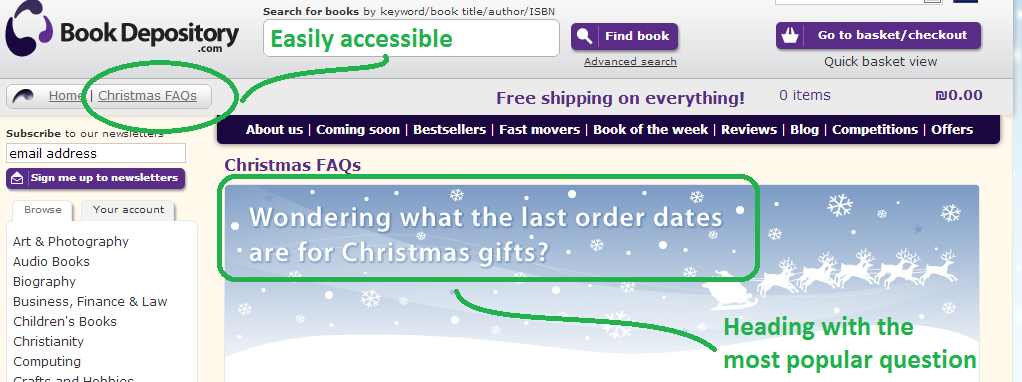 The Book Depository take FAQs to the next level