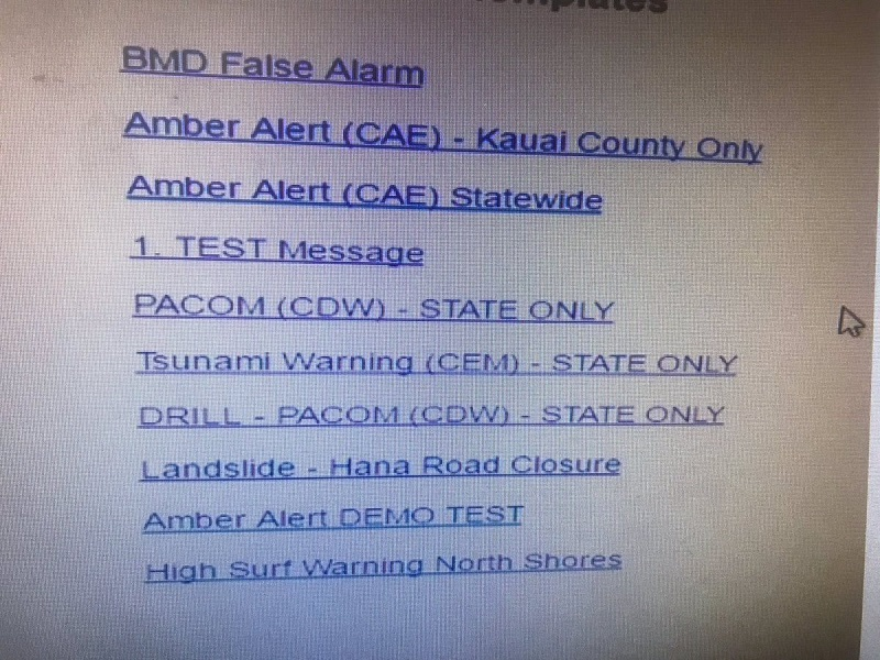 Hawaii Missile Alert interface